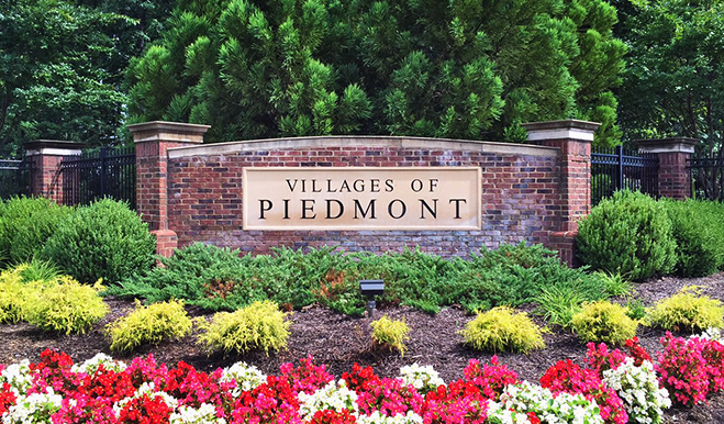 The Villages of Piedmont entry monument