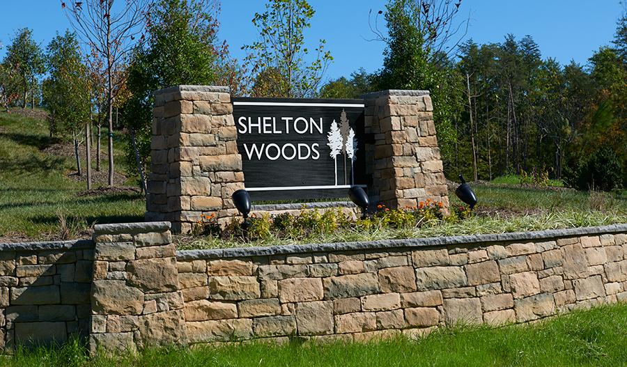 Shelton Woods entry monument