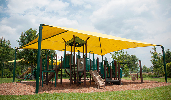 Covered playground equipment