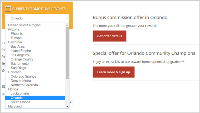 Screen capture of search for offers in Orlando