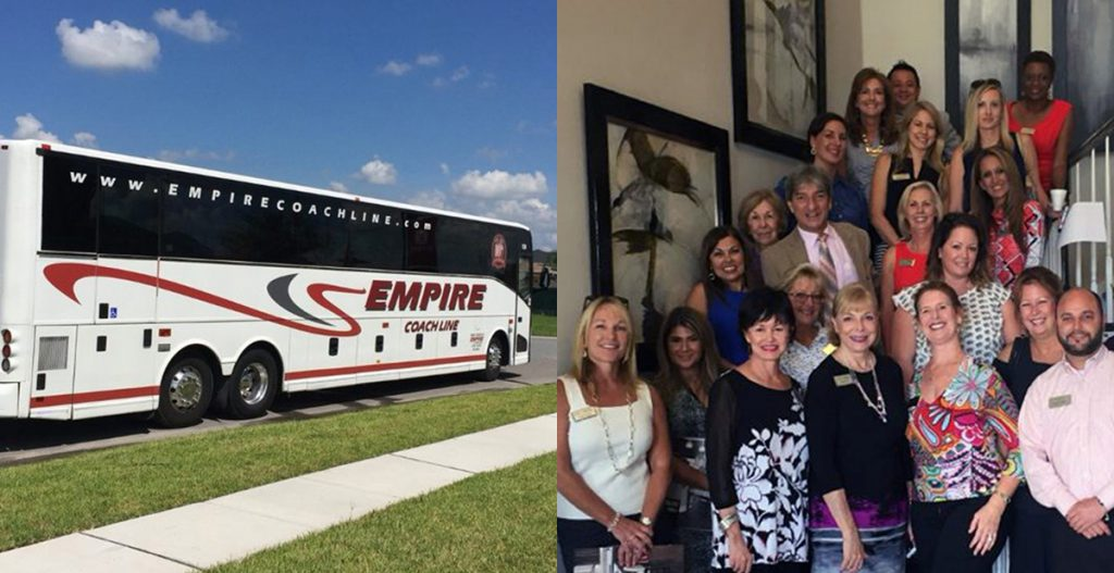 Tour bus and Lake Nona area real estate agents on a recent bus tour of North Pointe in Lake Nona.