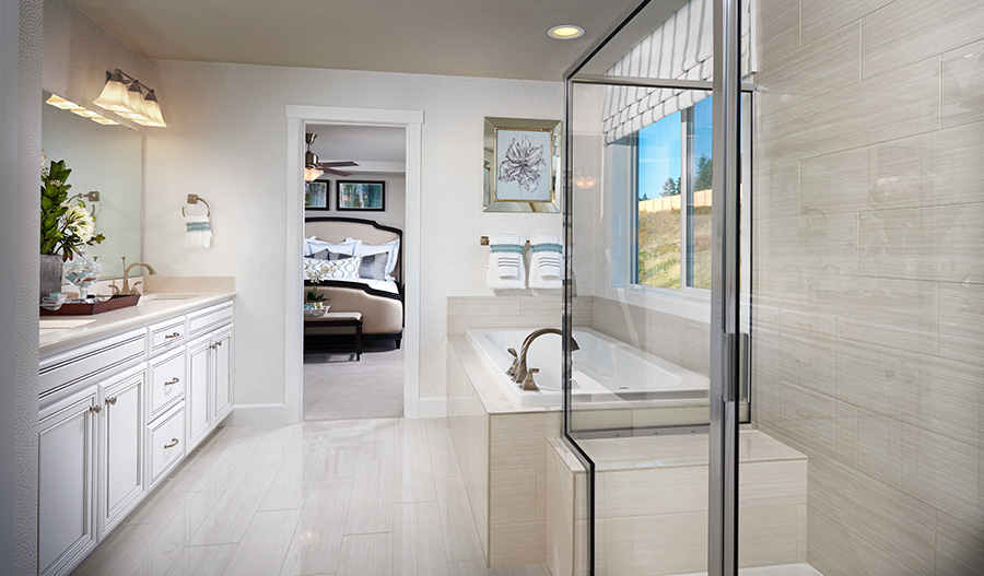 Master bath of the Seth model in Washington
