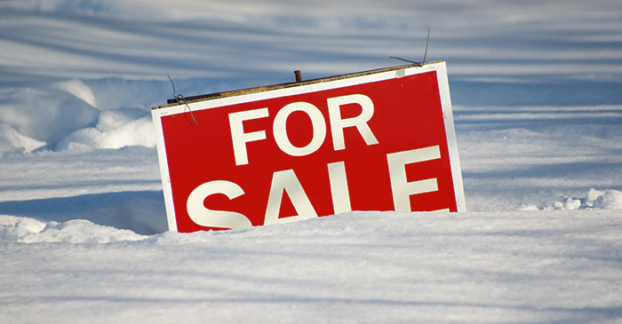 For sale sign, half buried in snow