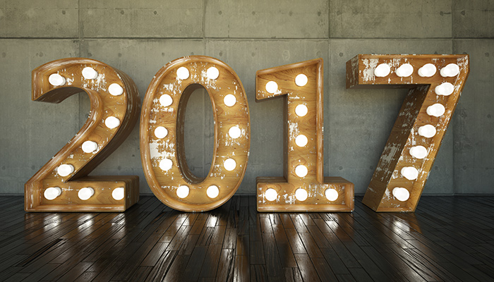 2017 spelled out in light bulbs