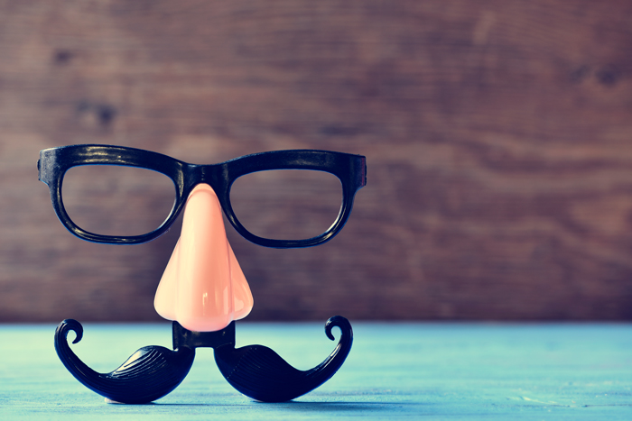 Funny glasses with false nose and mustache