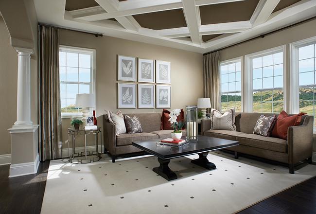 Living room in the Harmon model, CO