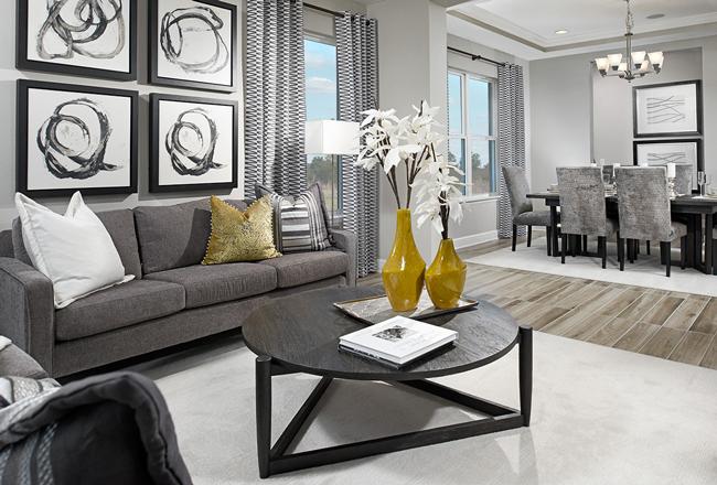 Great room in the Harmon model, FL