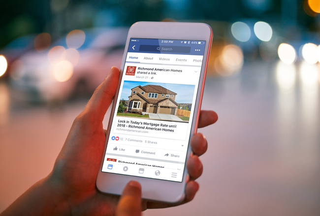 Real estate article shared on Facebook
