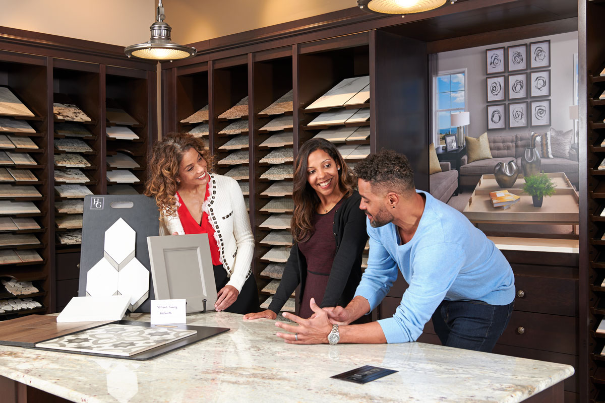 Homebuyers have the opportunity to touch and try many of the products they will have in their homes, and to see how they coordinate with each other.