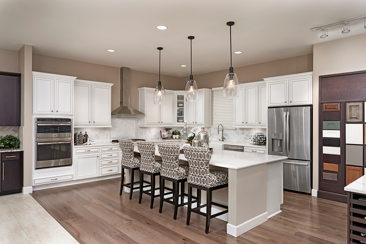 Model kitchen vignettes help buyers envision how the different design elements they're choosing will come together.