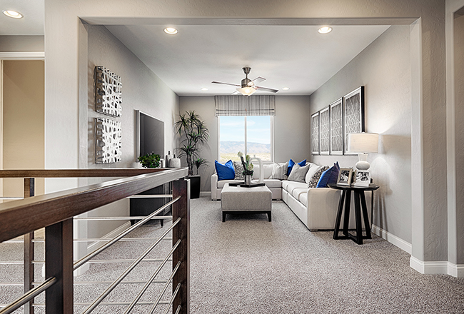 <b>The loft.</b><br>  Use it as a media room, teen room, craft room or playroom! The Coronado's loft is a great gathering place in the midst of the home's bedrooms. If your clients need the space for an additional bedroom, that's an option! Shown: The Coronado model in Nevada.