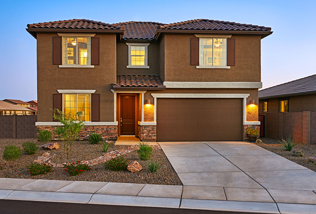<b>The curb appeal.</b><br>  Whether it's sporting the stucco and tile of our southwestern elevations or the classic siding and stone accents found across our Rocky Mountain and Mid-Atlantic markets, the Coronado's stately two-story silhouette has broad buyer appeal. Shown: The Coronado model in Arizona.