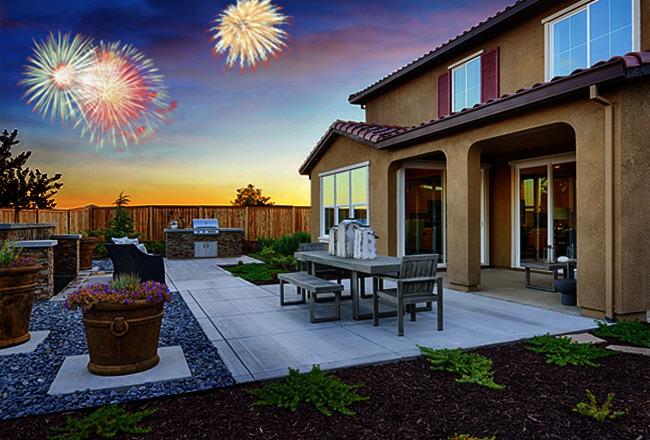 Backyard and Fireworks