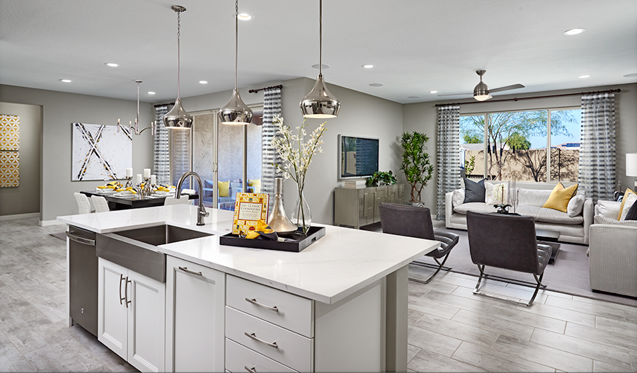 Every kitchen features a convenient center island.
