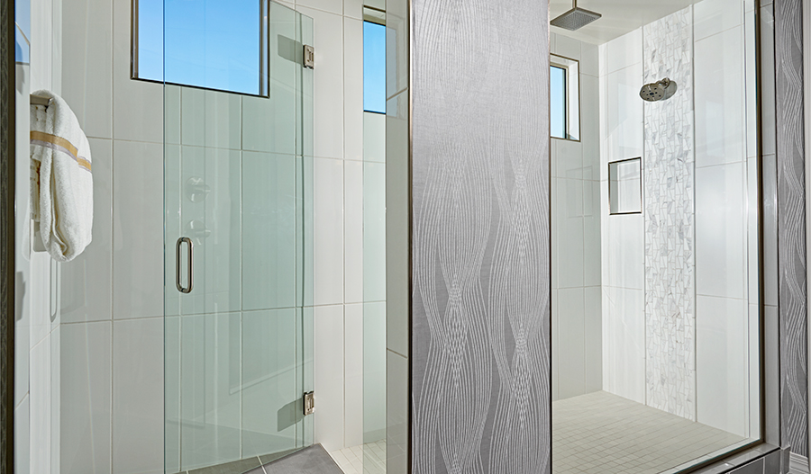 A luxurious optional walk-in shower at the master bath.