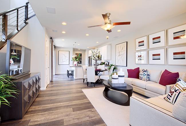Living room of the Boston model home in Las Vegas