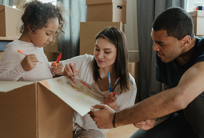 New home buyers packing for a move