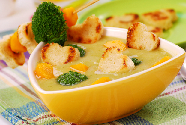 broccoli cheese soup with heart-shaped croutons