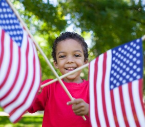 Boy with American flags