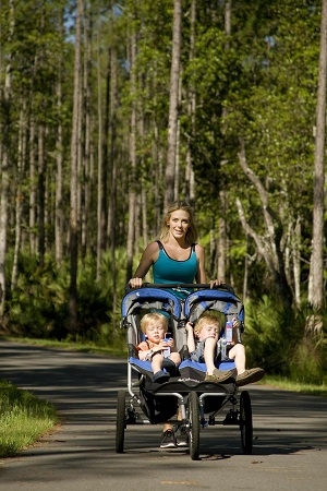 Mom and twins in stroller on Greenway Trails, Ponte Vedra