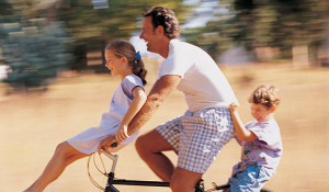 Family biking in Laveen