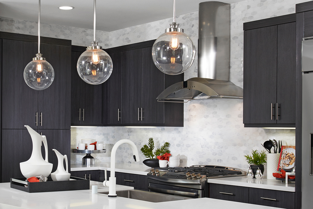 Penn pendant lights in Costa Mesa, CA, model home