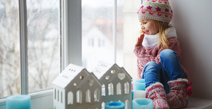 Snow Day - Girl on Windowsill