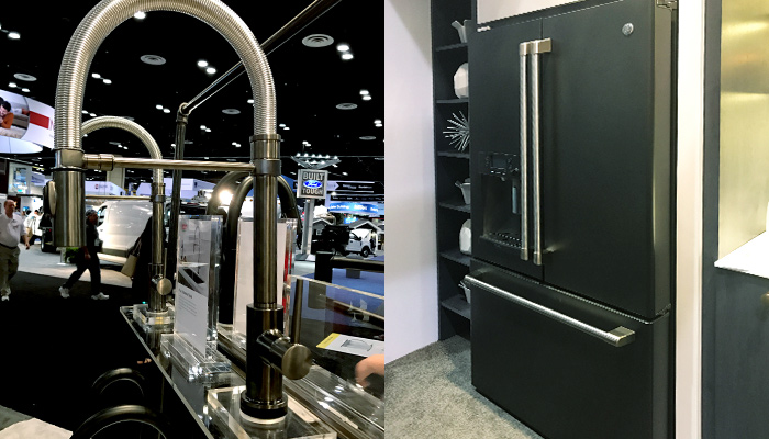 Dark finished faucet and refrigerator