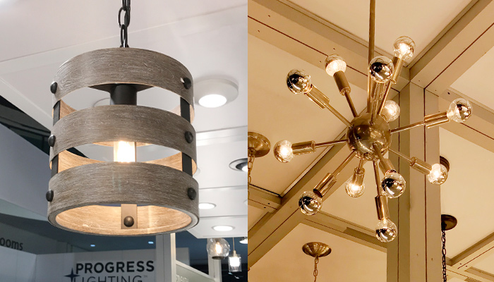 Two types of light fixtures