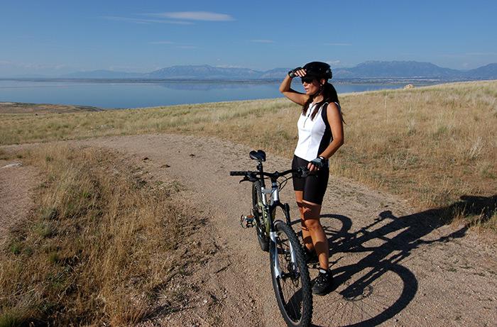 Biking on Antelope Island