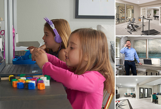 collage of home images including two girls at a desk, study, fitness room, and basement