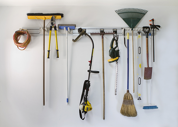 Garage tools on wall hanger