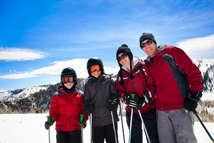 Family skiing together in Salt Lake City, Utah