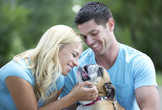 Couple with bulldog