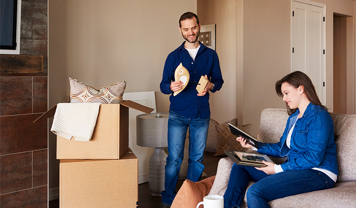 Couple learning how to declutter