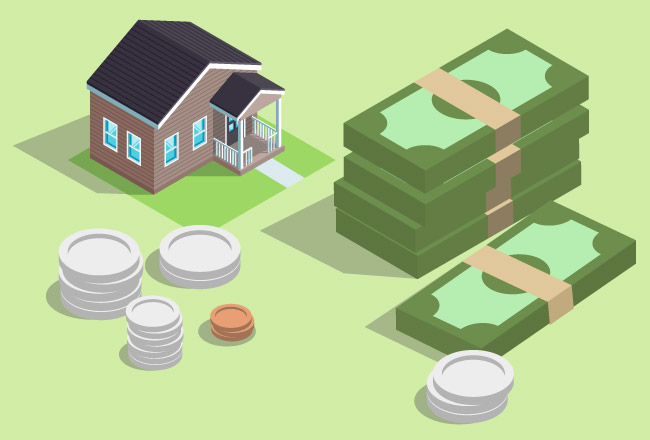 House with coins and dollars