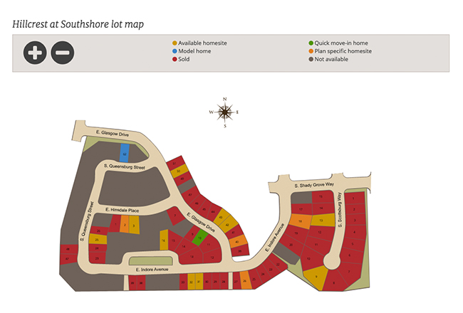 Lot map for Hillcrest at Southshore in Aurora, CO