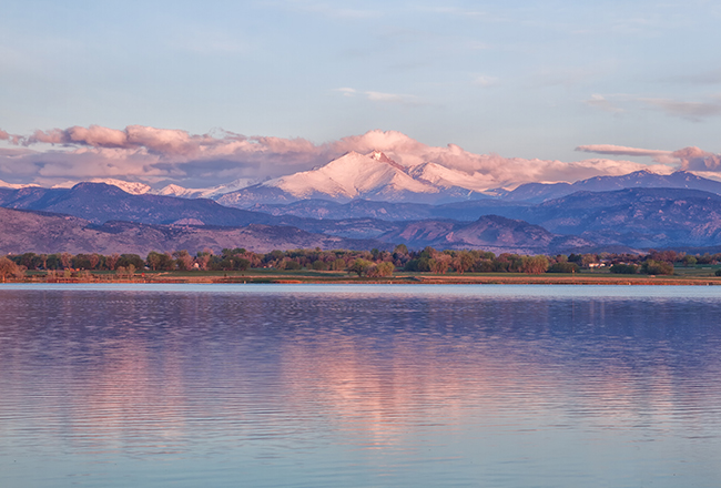 View of Longs Peak from McIntosh Lake in Longmont, CO