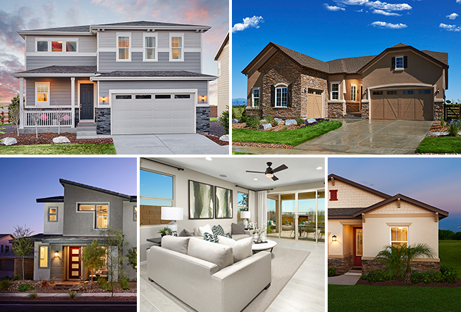 Collage of new homes at new communities