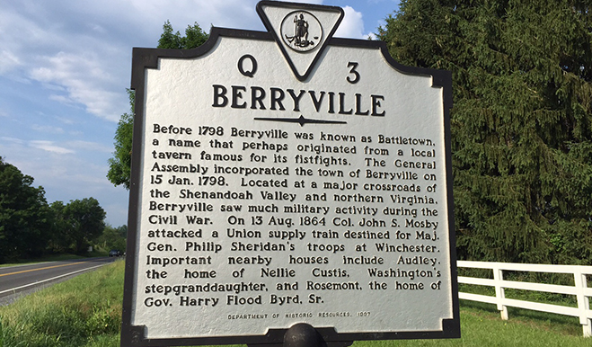 Berryville community sign in Northern Virginia