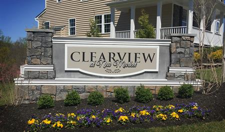 Entrance to new home community Clearview at New Market in New Market Maryland