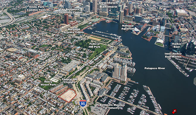 Map of downtown Baltimore