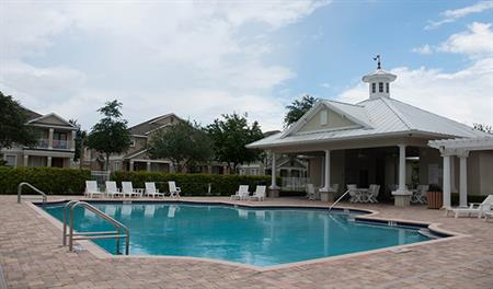 Community pool and clubhouse at the Sanctuary at Harmony in Orlando