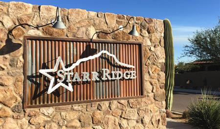 Entrance sign to the Starr Ridge community