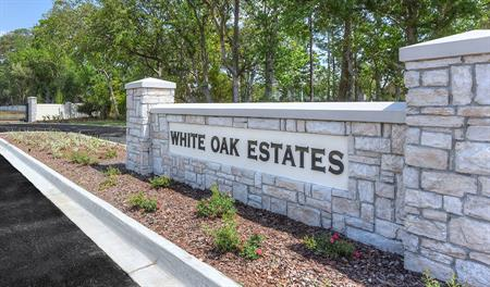 Entrance to the White Oak Estates community in Jacksonville