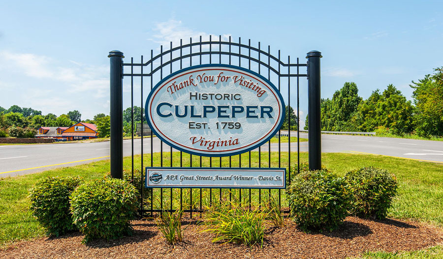 Welcome sign to Culpeper in Northern Virginia