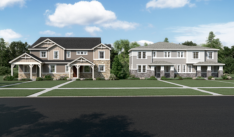 New duplexes at The Park at Serenity Ridge in Denver