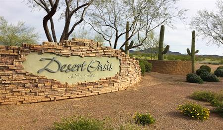 Desert Oasis New Home Community Entrance in Surprise