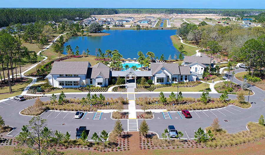 Aerial of the Clubhouse in Trailmark in JAX