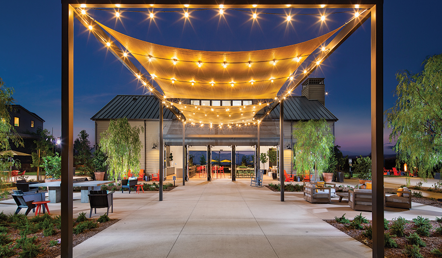 Clubhouse patio in Atwood at Bedford in Inland Empire